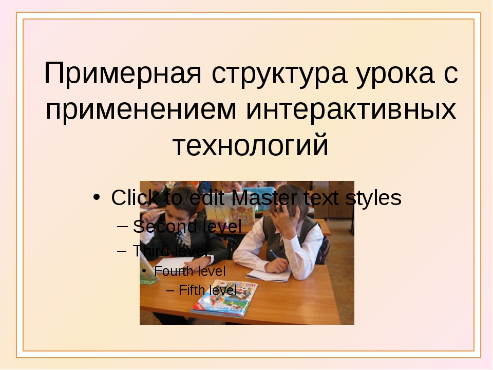 Примерная структура урока с применением интерактивных технологий
