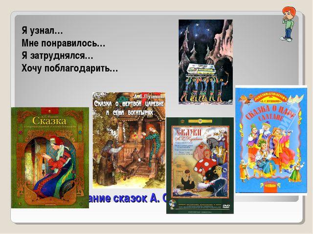 Проверьте знание сказок А. С. Пушкина Я узнал… Мне понравилось… Я затруднялся...