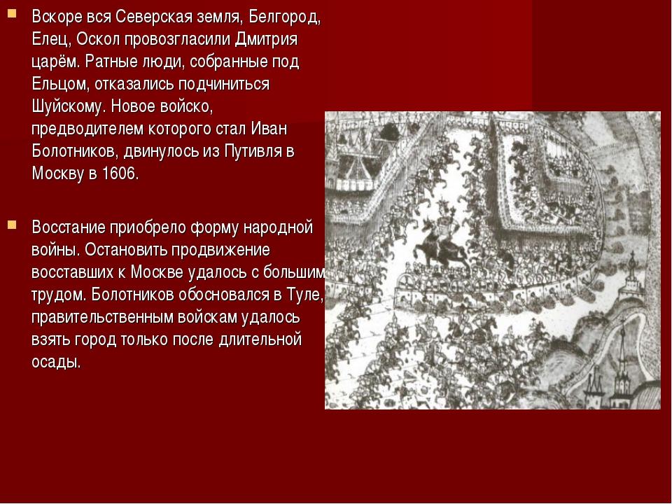 Вскоре вся Северская земля, Белгород, Елец, Оскол провозгласили Дмитрия царём...