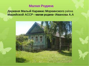 Деревня Малый Карамас Моркинского района Марийской АССР- «малая родина» Ивано