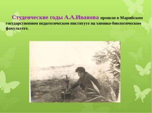 Студенческие годы А.А.Иванова прошли в Марийском государственном педагогичес