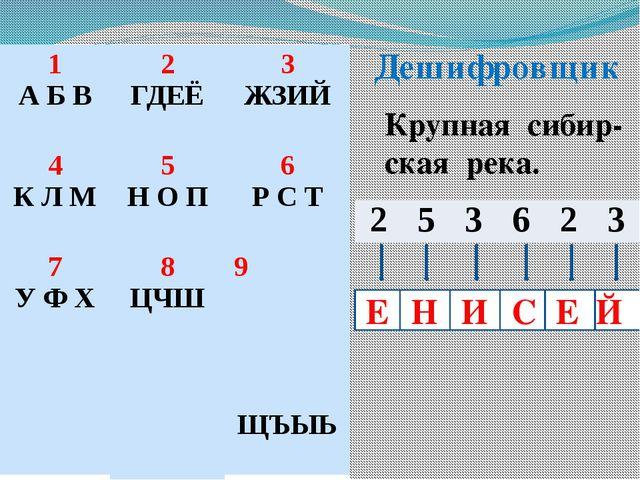 Дешифровщик Крупная сибир- ская река. Е С И Е Н Й 1 А Б В 2 ГДЕЁ 3 ЖЗИЙ 4 К Л...