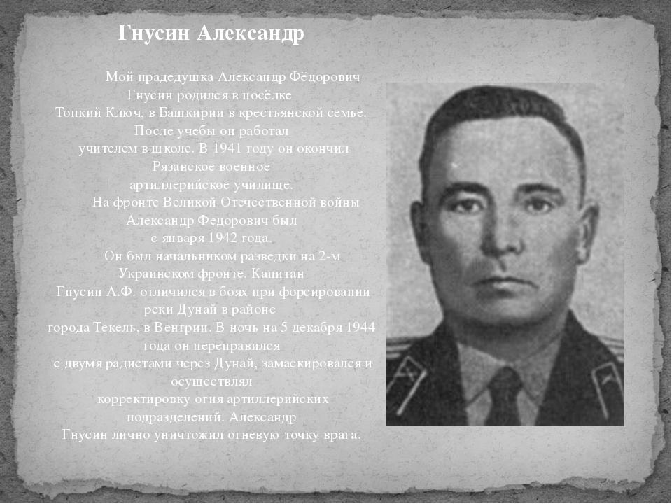 Гнусин Александр Мой прадедушка Александр Фёдорович Гнусин родился в посёлке...