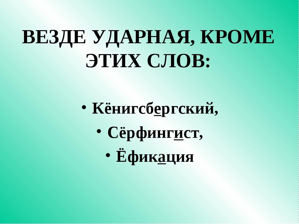 ВЕЗДЕ УДАРНАЯ, КРОМЕ ЭТИХ СЛОВ: Кёнигсбергский, Сёрфингист, Ёфикация