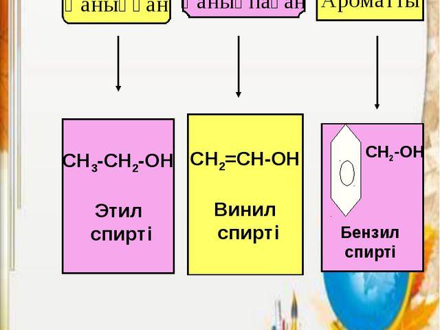 Қаныққан Қанықпаған Ароматты CH3-CH2-OH Этил спирті СH2=CH-OH Винил спирті CH...