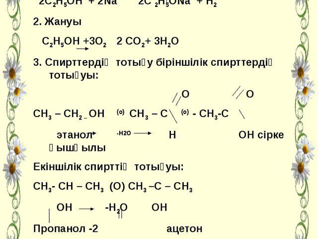 Спирттердің сілтілік және сілтілік жер мемалдармен әрекеттесуі 2С2Н5ОН + 2Na...