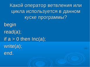 Какой оператор ветвления или цикла используется в данном куске программы? beg