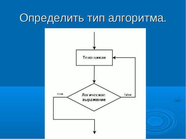 Определить тип алгоритма.