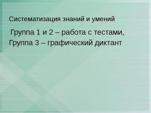 Систематизация знаний и умений Группа 1 и 2 – работа с тестами, Группа 3 – гр...