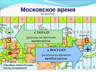 Московское время http://time100.ru/ З В - + «Часовые пояса России» - http://g