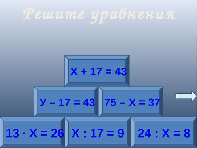 13 · Х = 26 Х : 17 = 9 24 : Х = 8 У – 17 = 43 75 – Х = 37 Х + 17 = 43 Решите...