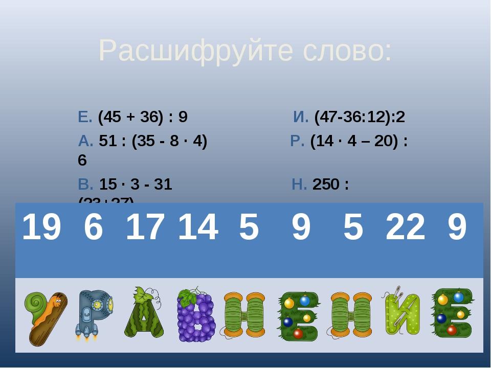 Расшифруйте слово: Е. (45 + 36) : 9 И. (47-36:12):2 А. 51 : (35 - 8 · 4) Р. (...