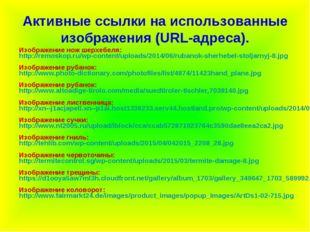 Активные ссылки на использованные изображения (URL-адреса). Изображение нож