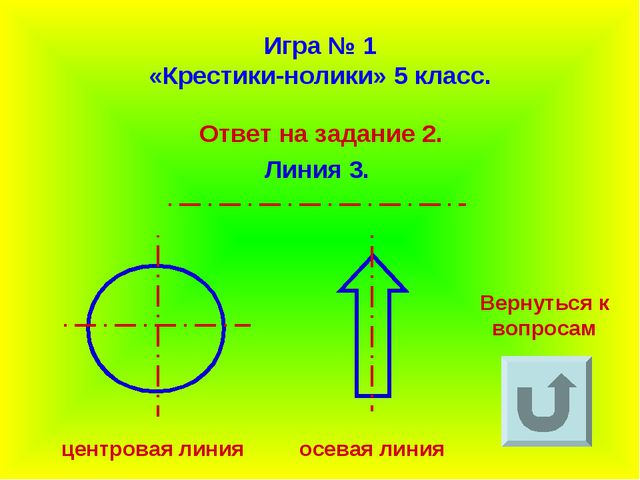Игра № 1 «Крестики-нолики» 5 класс. Ответ на задание 2. Линия 3. Вернуться к...