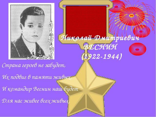 Николай Дмитриевич ВЕСНИН (1922-1944) Страна героев не забудет, Их подвиг в п...