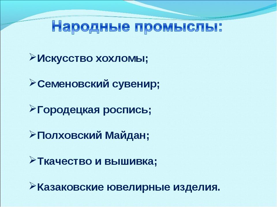 Искусство хохломы; Семеновский сувенир; Городецкая роспись; Полховский Майдан...