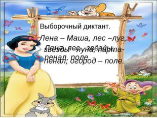 Выборочный диктант. Лена – Маша, лес –луг, звёзды –луна, парта- пенал, огород