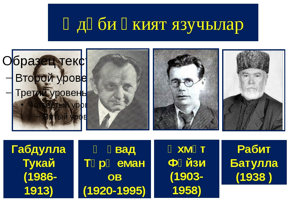 Әдәби әкият язучылар Габдулла Тукай (1986-1913) Җәвад Тәрҗеманов (1920-1995)...