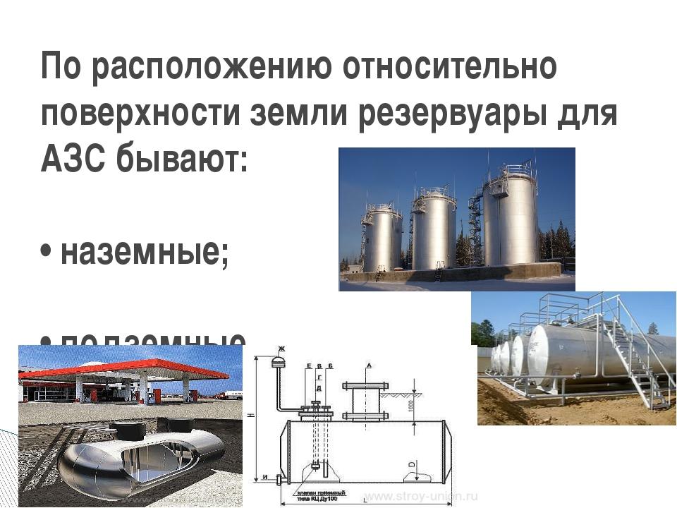 По расположению относительно поверхности земли резервуары для АЗС бывают: • н...