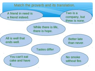 Match the proverb and its translation. A friend in need is a friend indeed. A