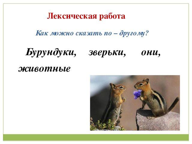 Лексическая работа Как можно сказать по – другому? Бурундуки, зверьки, они, ж...