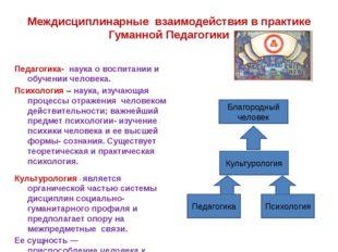 Междисциплинарные взаимодействия в практике Гуманной Педагогики Педагогика Пс