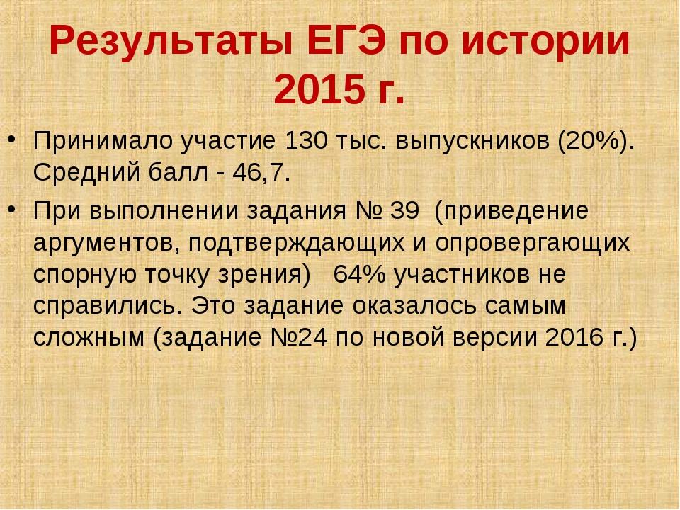 Результаты ЕГЭ по истории 2015 г. Принимало участие 130 тыс. выпускников (20%...