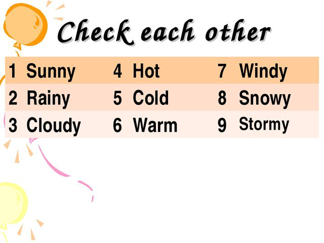 Check each other 1	Sunny	4	Hot	7	Windy 2	Rainy	5	Cold	8	Snowy 3	Cloudy 	6	War...