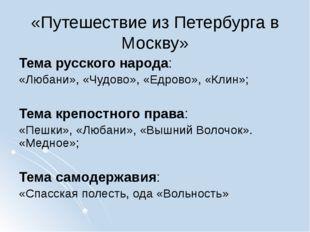 «Путешествие из Петербурга в Москву» Тема русского народа: «Любани», «Чудово»