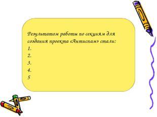 Результатом работы по секциям для создания проекта «Антиспам» стали: 1. 2. 3.