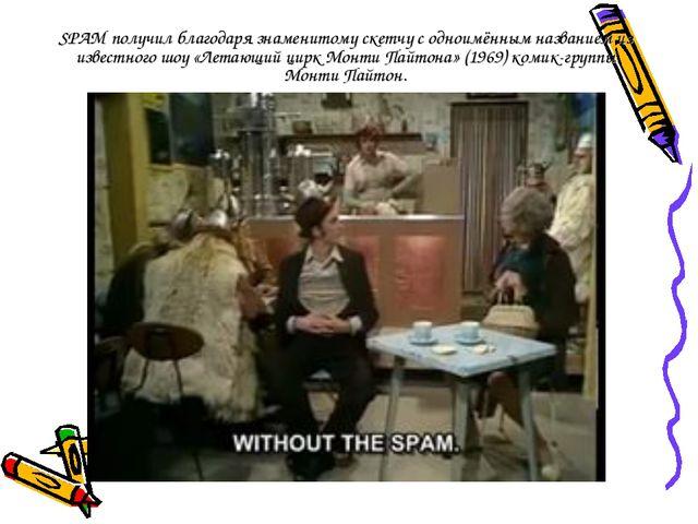 SPAM получил благодаря знаменитому скетчу с одноимённым названием из известно...