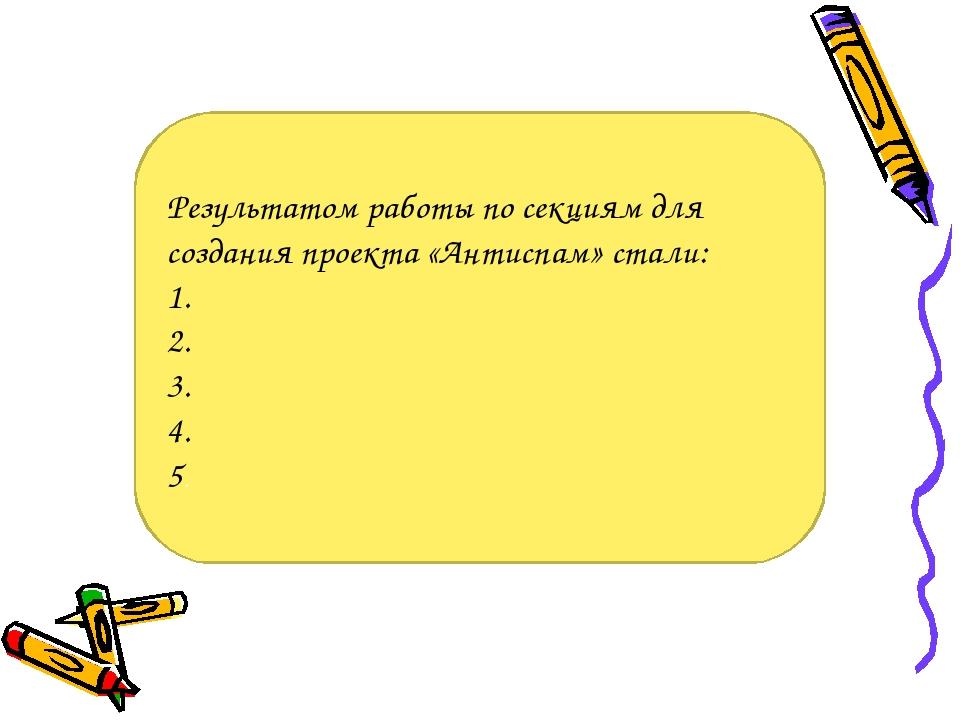 Результатом работы по секциям для создания проекта «Антиспам» стали: 1. 2. 3....