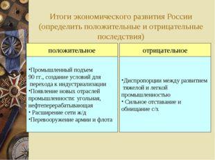 Итоги экономического развития России (определить положительные и отрицательны
