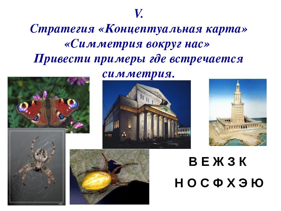 V. Стратегия «Концептуальная карта» «Симметрия вокруг нас» Привести примеры г...