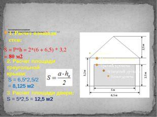 Расчет площади под оштукатуривание: площадь стен + 2 площади треугольной кры
