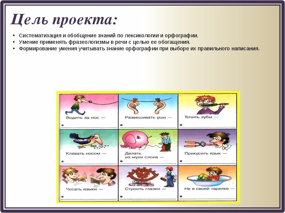 Цель проекта: Систематизация и обобщение знаний по лексикологии и орфографии....