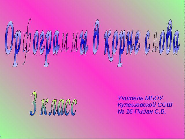 Учитель МБОУ Кулешовской СОШ № 16 Пидан С.В.