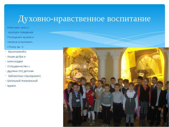 Классные часы о культуре поведения Посещение музеев и театров («Арлекин», «Те...