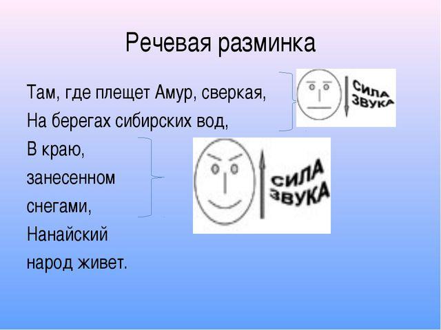 Речевая разминка Там, где плещет Амур, сверкая, На берегах сибирских вод, В к...
