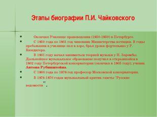 Этапы биографии П.И. Чайковского Окончил Училище правоведения (1850-1859) в