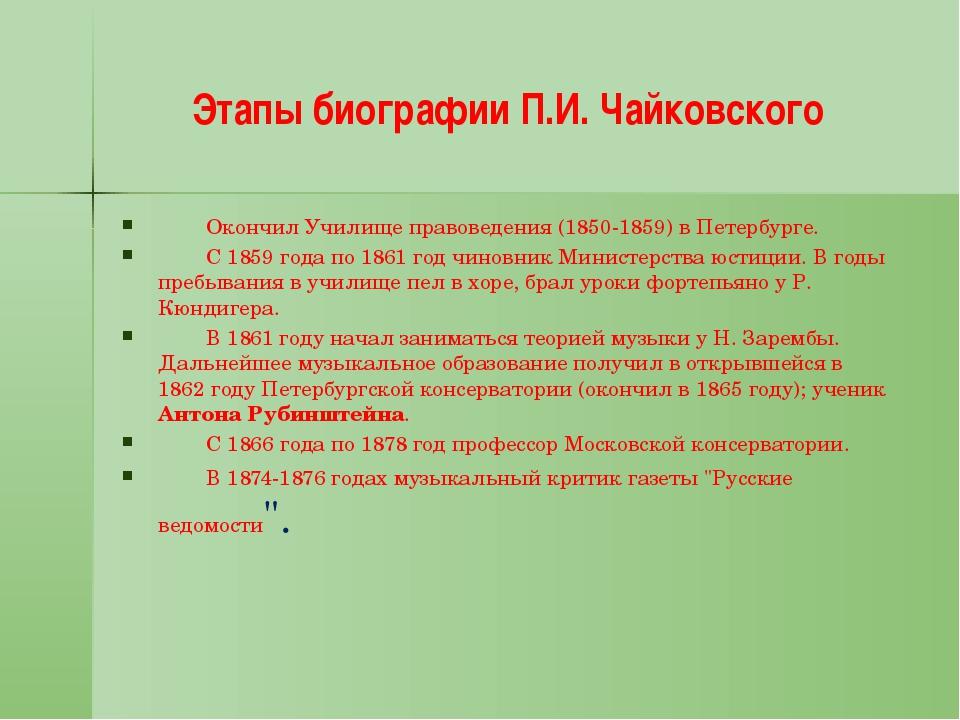 Этапы биографии П.И. Чайковского Окончил Училище правоведения (1850-1859) в...