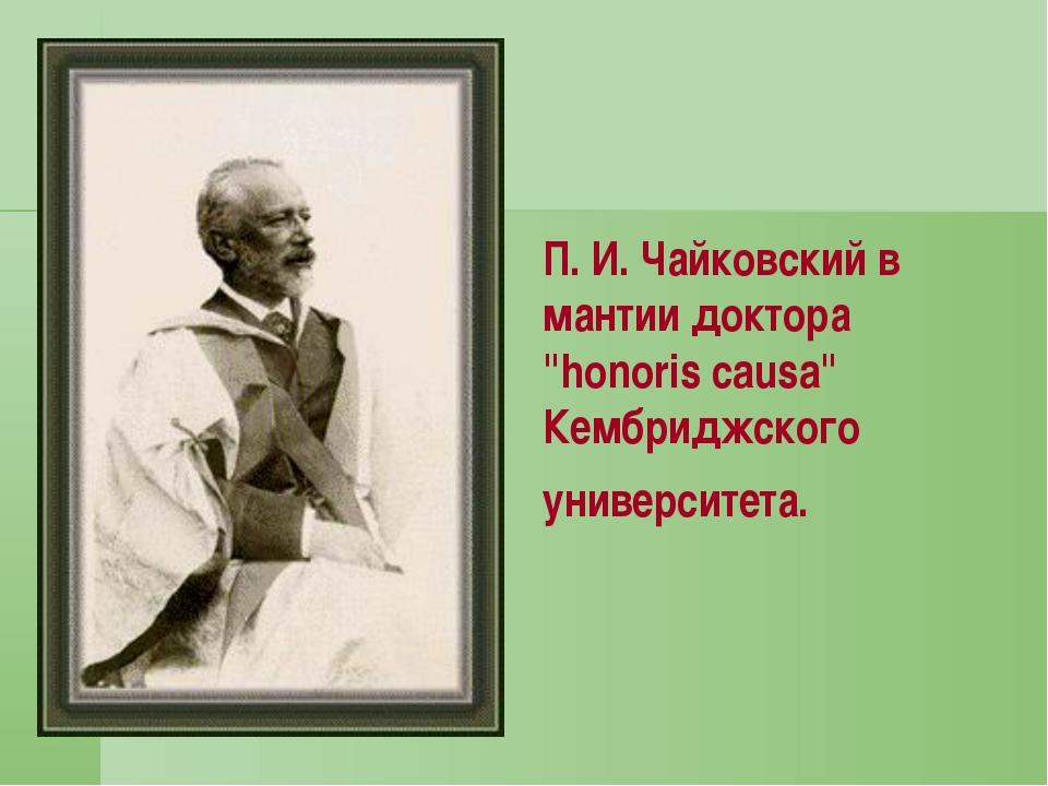 """П. И. Чайковский в мантии доктора """"honoris causa"""" Кембриджского университета."""