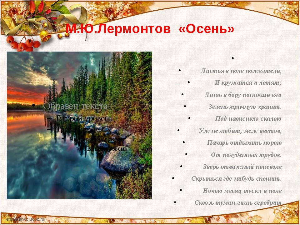 М.Ю.Лермонтов «Осень»  Листья в поле пожелтели, И кружатся и летят; Лишь в б...