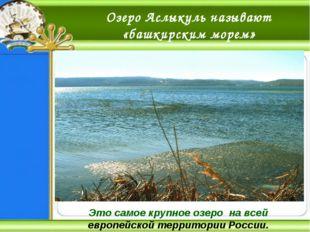 Озеро Аслыкуль называют «башкирским морем» Это самое крупное озеро на всей ев