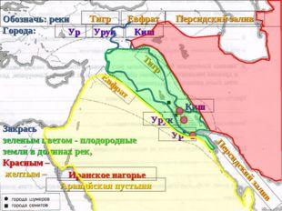 Обозначь: реки Города: Тигр Евфрат Персидский залив Ур Урук Киш Иранское наг