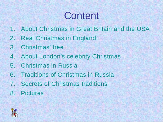 Content About Christmas in Great Britain and the USA Real Christmas in Englan...