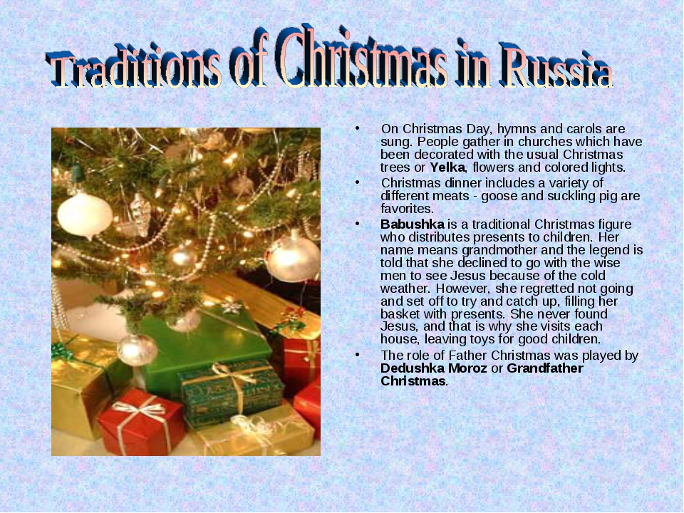 On Christmas Day, hymns and carols are sung. People gather in churches which...