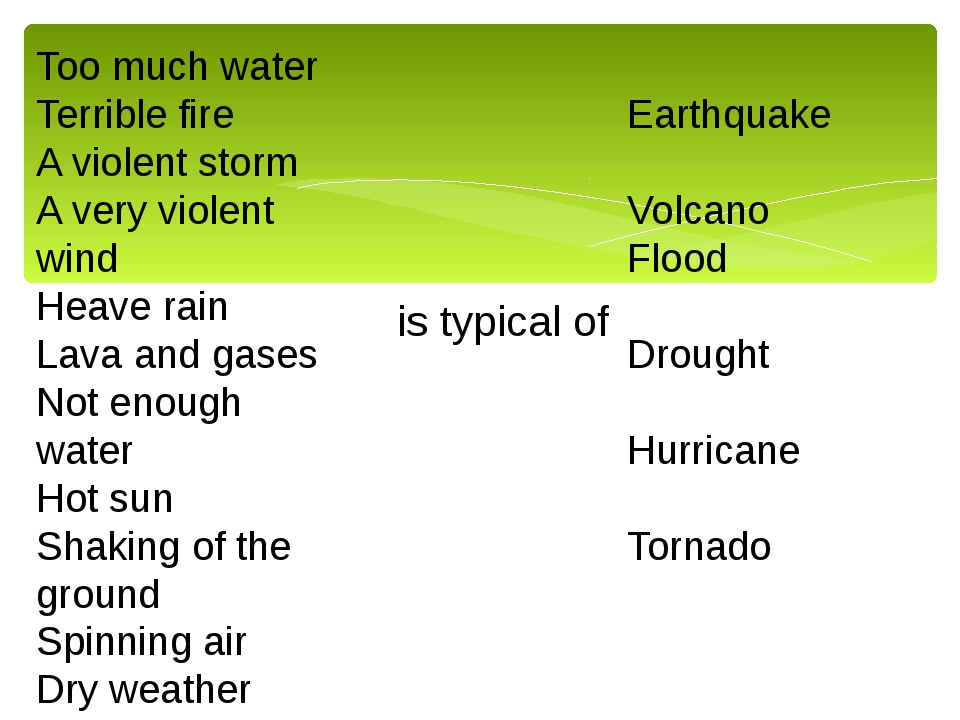 Too much water Terrible fire A violent storm A very violent wind Heave rain L...