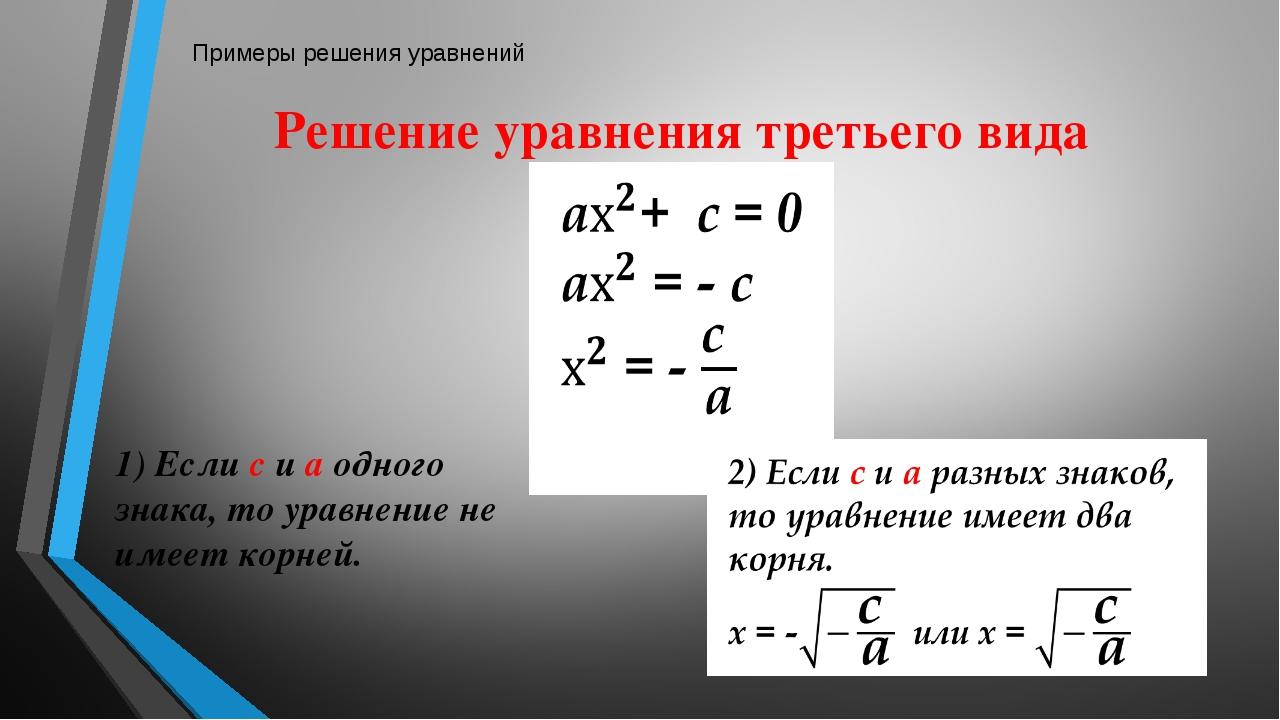 Полные квадратные уравнения Приведенное квадратное уравнения Квадратное уравн...