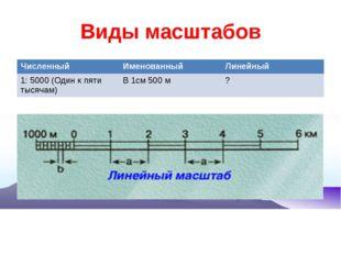 Виды масштабов Численный Именованный Линейный 1: 5000 (Один к пяти тысячам) В